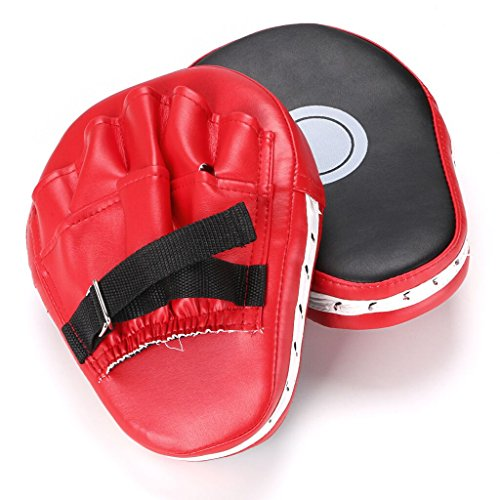 (Hipiwe 2pcs MMA Focus Punch Mitts PU Leather Kicking Palm Pads Camber Taekwondo Training Boxing Target Pad with Adjustable Strap)