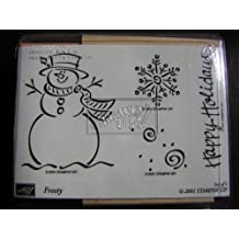 """Set of 4 Stampin' Up! Wood-Mounted Rubber Stamps - """"FROSTY"""" - 2001 Holiday & Winter Set"""