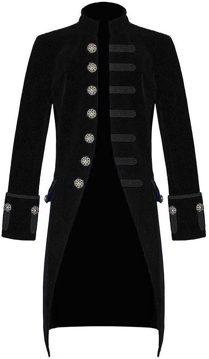 Sxfashbrd Mens Velvet Goth Steampunk Victorian Frock Coat Retro Halloween Costume Tailcoat Tuxedo Tuxedos Blazer Jacket Dress