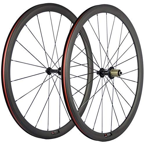 SunRise Bike 1 Pair of Road Bike Carbon 700C Clincher Wheelset Super Light Bicycle Wheels 38mm Depth (fit for Shiman0 Cassette) (Best All Round Road Bike Wheels)