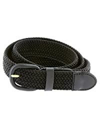 "Braided Woven Elastic Stretch Belt With Matching Leather Covered Buckle (3XL(46-48"") 55"" Total Length, Black)"