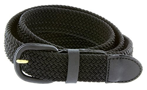 Wide Covered Buckle Belt (Belts.com Leather Covered Buckle Woven Elastic Stretch Belt, Black,)