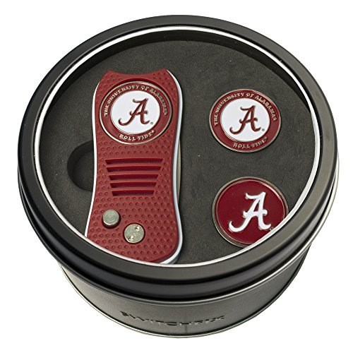 Team Golf NCAA Alabama Crimson Tide Gift Set Switchblade Divot Tool with 3 Double-Sided Magnetic Ball Markers, Patented Single Prong Design, Causes Less Damage to Greens, Switchblade Mechanism