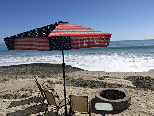 American Flag Umbrella - Commercial Grade UV 45 MPH Wind Resistant 9ft Patio Umbrella (Patriot American Flag)