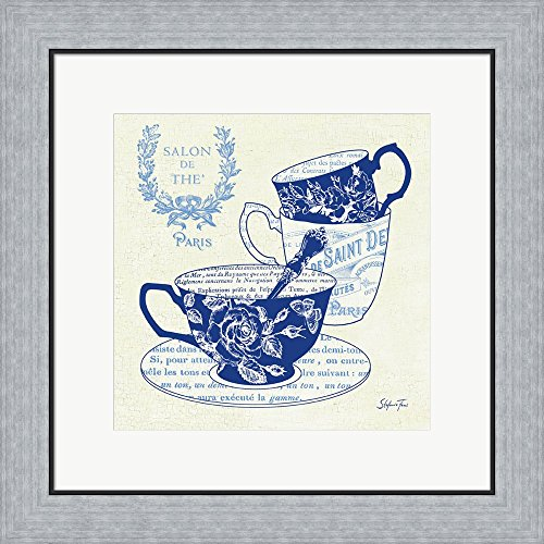 Blue Cups IV by Stefania Ferri Framed Art Print Wall Picture, Flat Silver Frame, 20 x 20 inches