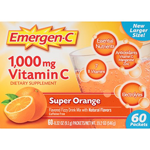 Emergen-C Dietary Supplement Drink Mix with 1000mg Vitamin C 0.32 Ounce Packets (Super Orange Flavor, 60 Count)