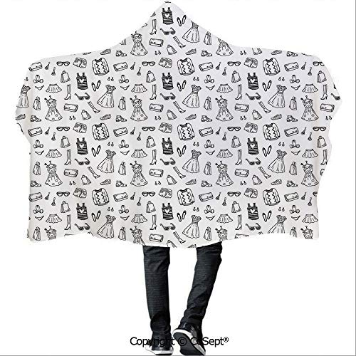 SCOCICI Hooded Blankets,Female Fashion Themed Pattern Sketch Cartoon Style Doodle Garments Decorative,Warm Cozy Throw Blanket (59.05x78.74 inch),Black and - Style Superior Garment Military