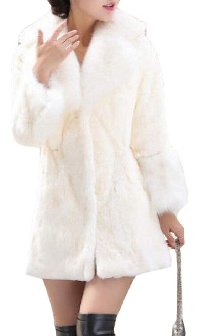 1 pujinggeCA Women Solid color Warm Fall Winter Fuzzy Faux Fur Coat Jacket Outerwear