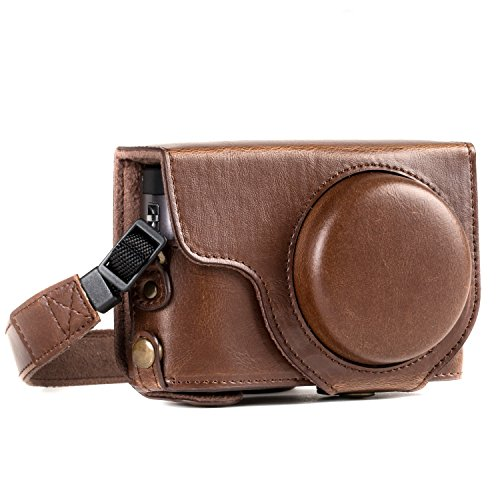 MegaGear MG1259 Ever Ready Leather Camera Case Compatible with Panasonic Lumix DC-ZS80, DC-ZS70 - Dark Brown