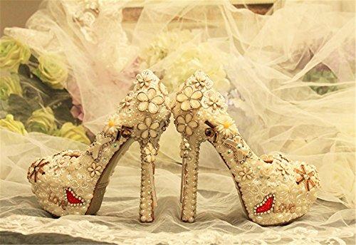 HerzföRmige Stilett Schuhe Brautjungfern Gericht Perle Color Hochzeit Schuhe MNII Strass Heel Runde Pumps Blumen Braut Frauen Qualität High gute Brautjungfern Geschlossene Zehenkristall fBx8Ozn