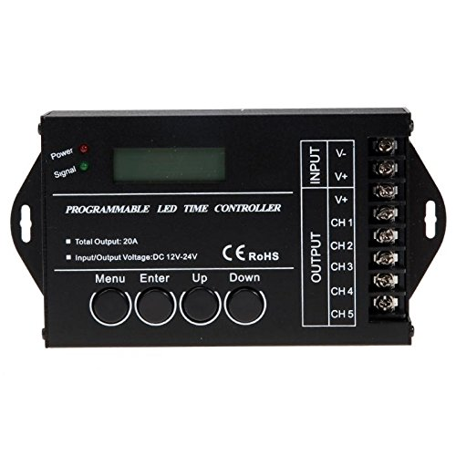 BUPADEALER TC421 WiFi Time Programmable LED Controller Dimmer DC12-24V RGB Aquarium Lighting Timer Input 5 Channels For Led Strip