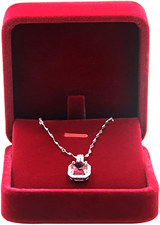JUNGEN® Estuche de Terciopelo de Collar, Organizador de Joyerías, Joyería Caja de Almacenamiento Boda Regalo,7 * 7 * 4 CM (Rojo): Amazon.es: Hogar