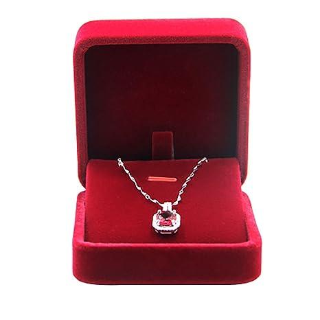 JUNGEN® Estuche de terciopelo de collar, Organizador de Joyerías, Joyería Caja de almacenamiento Boda Regalo,7*7*4 CM (Rojo)