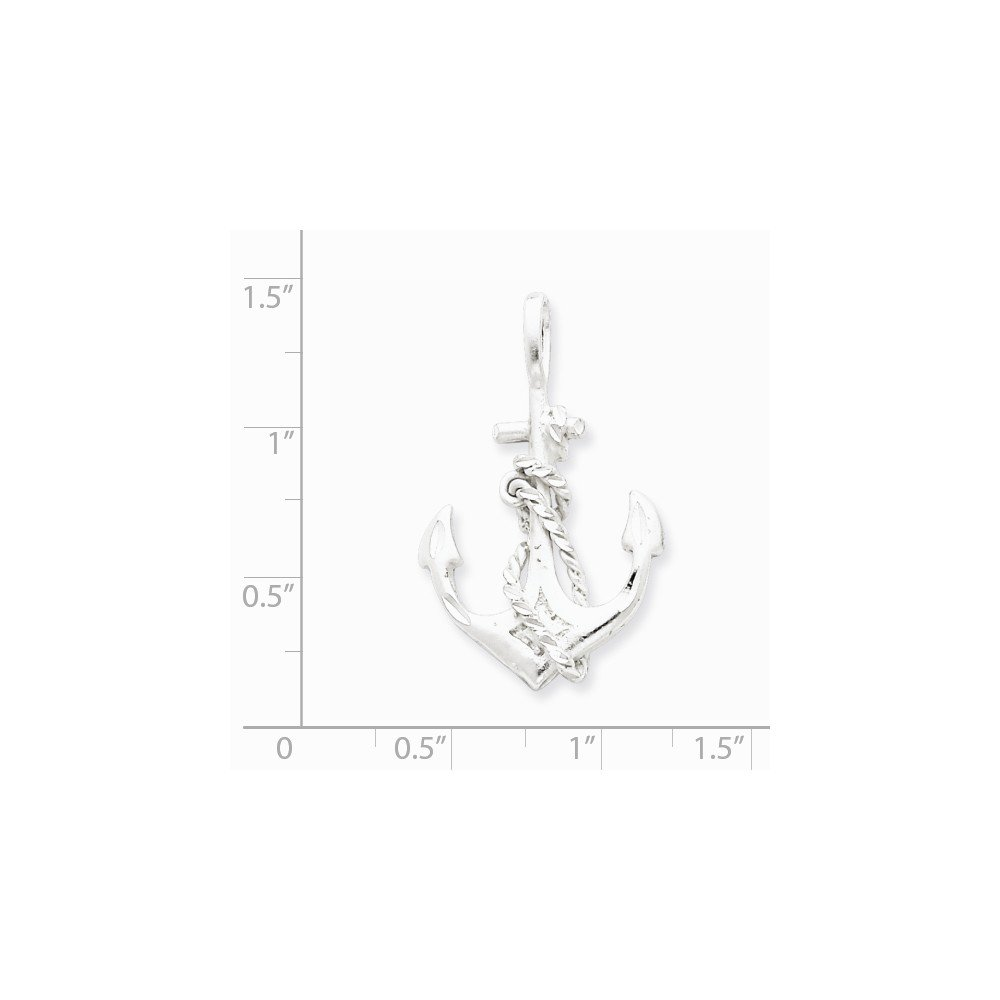 21mm x 34mm Jewel Tie 925 Sterling Silver Anchor Mariner Pendant Charm