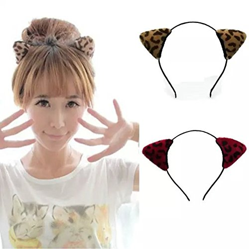 [IebeautySexy Cute Lovely Rabbit Cat Ears Headband Hair Holder hairband with velvet Leopard Orecchiette Ear] (Bandit Child Costumes)