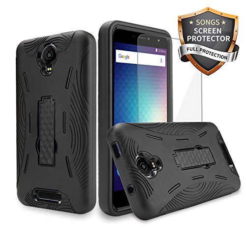 Blu Studio XL 2 Case S0270UU Heavy Duty Rugged Hard Cover with Hybrid Kickstand Case + Regular Clear Screen Protector Film for Studio XL2 Case (HVD Black/Black)