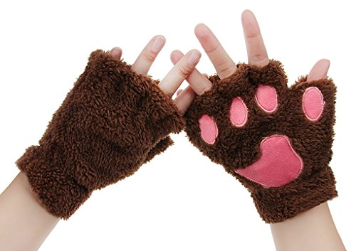 [Womens Bear Plush Cat Paw Claw Gloves Soft Faux Fur Winter Warm Fingerless Gloves Mitten Hallowmas Cosplay Costume Christmas] (Warm Costumes)