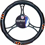 15 X 15 Inches NFL Bengals Steering Wheel Cover, Football Themed Three Sides Team Logo Name Vibrant Rubber Grip Sports Patterned, Team Logo Fan Merchandise Athletic Team Spirit Fan, Orange Black, Pvc