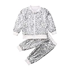 Silver Sequin Long Sleeve White Zip Sweatshirt & Pant