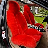YAOHAOHAO Real sheepskin long wool sofa chair seat cushion car seat cover, a terroir red in color
