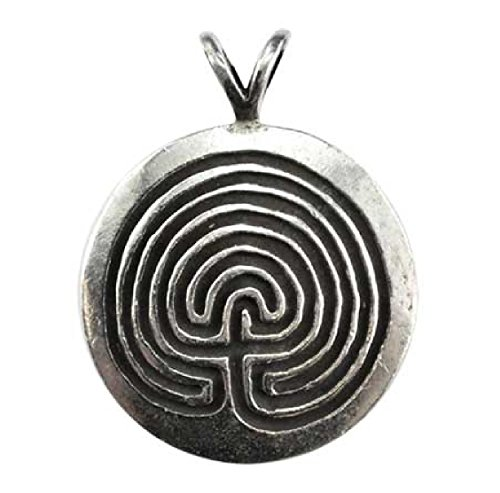 Protection Round Disk Maze Pendant Necklace - Durable Pewter - Bonus Cord Necklace - Disk Cord Pendant