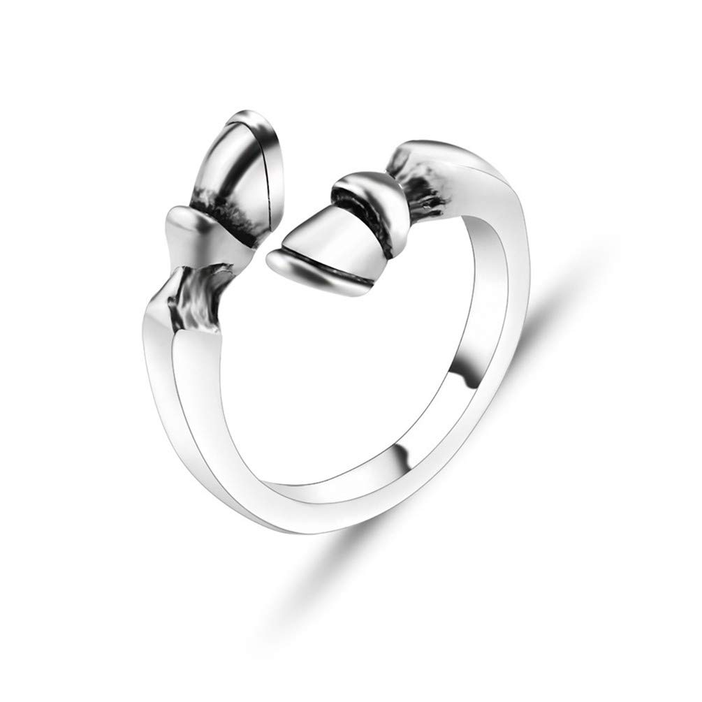 LANWF Vintage Horseshoe Opening Rings Trendy Adjustable Horse Hoof Finger Ring for Couple Ring Jewelry Accessories,Ancient Silver