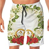 Haixia Man Adjustable Swim Short Wedding Decorations Frame with White and Red R