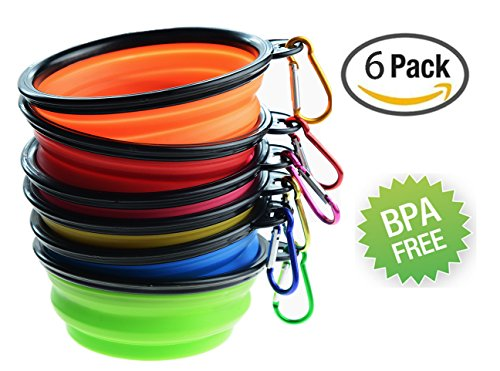 Tiger Mama Collapsible Dog Bowls, Set of 6, Silicone BPA Free Foldable Travel Dog Bowl for Feed and Water