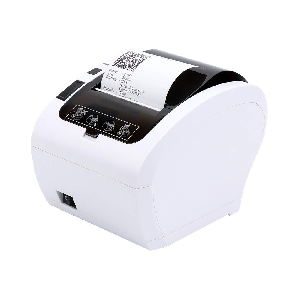 [Aggiorna 2.0] 80mm Stampante termica Auto-Cut Supporto Cassetto 230mm/sec MUNBYN Diretta con USB Ethernet Supporta Windows/Linux System/ESC/POS