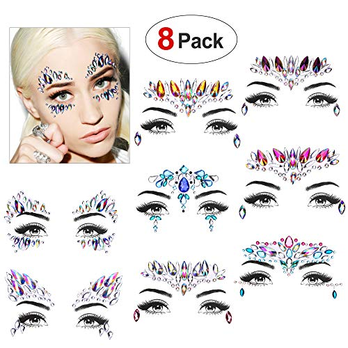 Face Gems Set(8 Pack),Konsait Face Jewels Glitter Bindi Rhinestone Make up Stickers Face Temporary Tattoo Mermaid Tears for Festival Rave Party Supplies Eyes Face Body Forehead Decorations -
