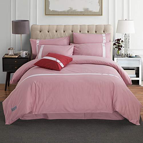 CSYP コットンソリッドカラー4ピースクラフトクラフトアクティブ暗号化コットンキット寝具から選択する色の様々な (Color : Pink) B07NT7P481