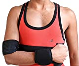 Wonder Care Left Right Black Shoulder Immobilizer Arm Sling Elastic Shoulder Brace for Clavicle Collar Bone Dislocation Subluxation Shoulder stabilizer Compression Brace After Rotator Cuff Surgery M