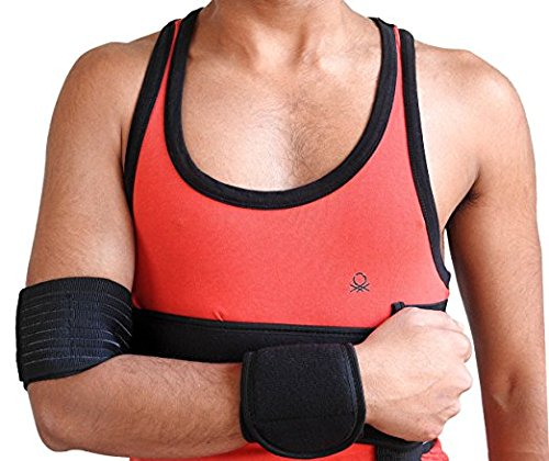 Wonder Care Left Right Black shoulder Immobilizer Arm Sling Elastic Shoulder Brace for clavicle collar bone Dislocation Subluxation shoulder stabilizer compression brace after Rotator cuff surgery XL