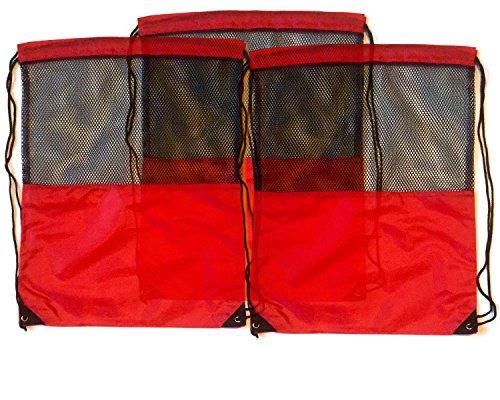 3 Pack RED MESH Nylon Drawstring Backpacks Sackpack Tote Cinch Gym Bag - Variety of Colors! (Regular, Red -