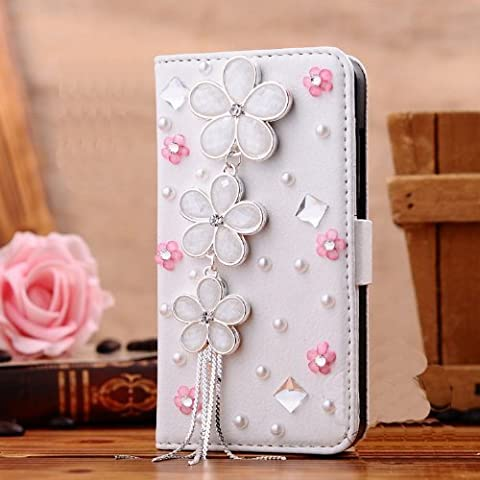 OOOUSE New Designer 3d Crystal Rhinestone Luxury Flip Wallet White Leather Handmade Case Cover for Apple Iphone 4 4s,5 5s, Samsung Galaxy S3,s4 (galaxy s4, daisy and pink (Cover De Samsung Galaxy 5s)
