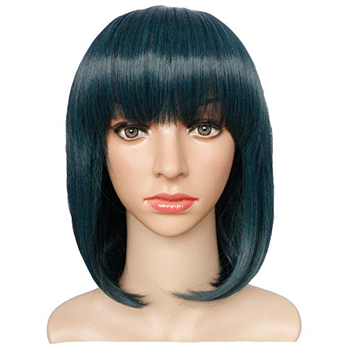 KOLIGHT 11'' Fashion Realistic Teal Short Straight BoB Women Girls Replacement Hair Wigs-Free Cap+Comb -