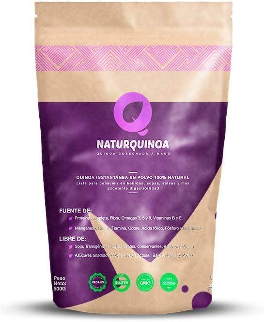 Naturquinoa | Concentrado de Quinoa en polvo Premium 100% natural | Quinoa sin gluten | Bolsa 500 gr de Quinoa | Bolsa para 30 días