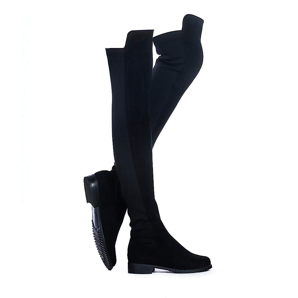 Shoe'N Tale Women Faux Suede Low Flat Heel Stretch Over The Knee High Thigh high Snow Boots (9 B(M) US, Black)