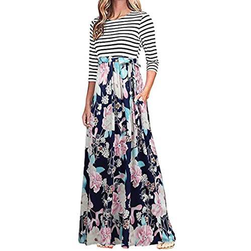 BCDshop Women Casual Floral Long Sleeve Boho Maxi Dresses with Pockets High Waist (Blue 2, M) ()