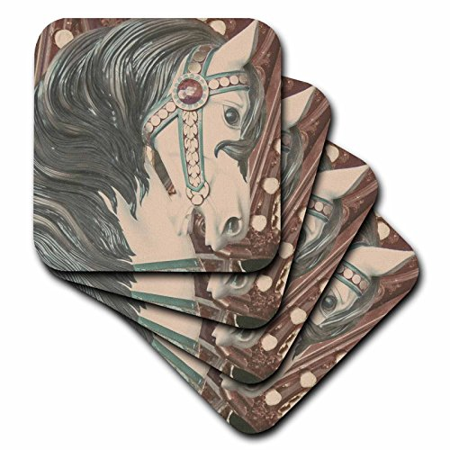 3dRose cst_10870_3 Merry Go Round Horse Photographed by Angelandspot Ceramic Tile Coasters, Set of 4