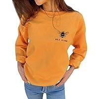 DressLksnf Pullover para Mujer Estampado de Miel Cuello