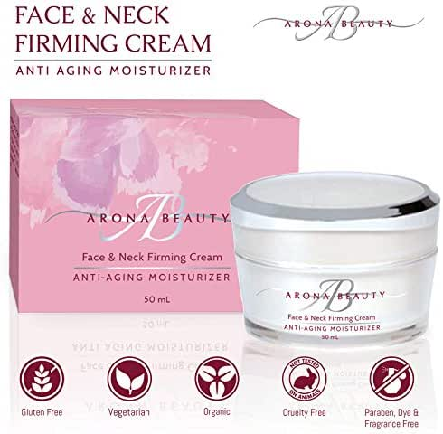 Arona Beauty Face & Neck Cream | Anti Aging Skin Care | Replenishing, Firming & Moisturizing | All Skin Types | Organic Ingredients & Essential Oils | Fragrance, Dye & Cruelty Free | 50mL