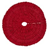 Red Burlap Ruffled Xmas Christmas Tree Skirt 48 Inches Holiday Decoration