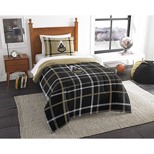 2 Piece NCAA Purdue Boilermakers West Lafayette Twin Comforter Set, Black, Sports Patterned Bedding, Featuring Team Logo, Purdue Merchandise, Team Spirit, College Football Themed, Polyester Material - Lafayette Comforter Set
