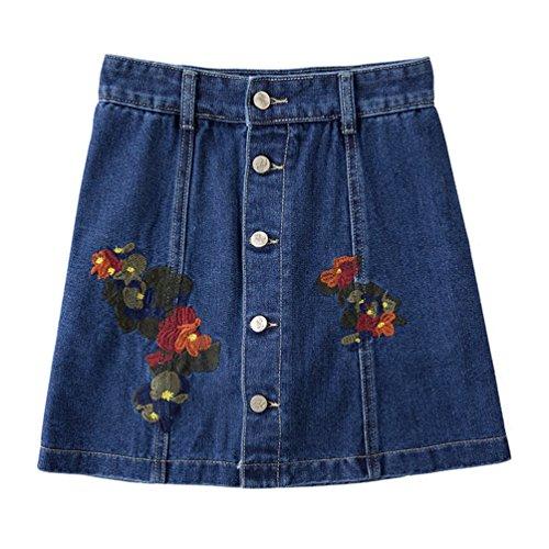 Gonna 2 Bottoni Jeans Blu Scuro Donne Di Vita Sentao Alta Ricamo Minigonna Con b7f6gyYv
