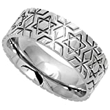 Surgical Stainless Steel 8mm Wedding Band Ring Star Of David Pattern Comfort-Fit, size 12.5