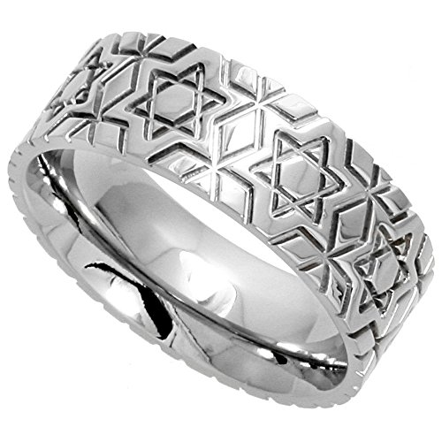 Surgical Stainless Steel 8mm Wedding Band Ring Star Of David Pattern Comfort Fit, sizes 6 14