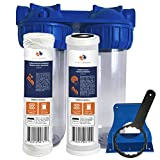 "Aquaboon 2-Stage Universal 10'' Valve-in-Head Whole House Water Filtration System, Includes String Wound Sediment & Coconut Shell Carbon Filter Cartridges (3/4"" Inlet/Outlet Brass Port)"