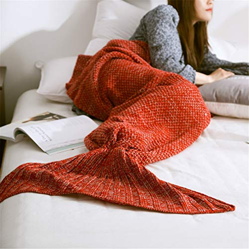 JJBKT Hot Mermaid Blanket Handmade Knitted Sleeping Wrap TV Sofa Mermaid Tail Blanket Kids Adult Baby Crocheted Bag Bedding Throws Bag Red 90X170CM (Crocheted Edging Blanket)