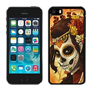 Beautiful Custom Designed Cover Case For iPhone 5C With Girl Skull Mask Art Phone Case hjbrhga1544